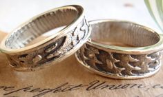 Sterling Silver Wedding Bands Rings His and Hers by cutterstone, $175.00