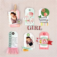 Adorable scrapbook layout with great use of tags