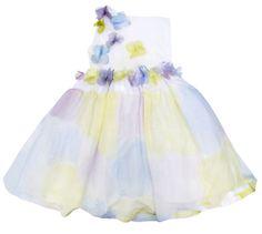 Vestido con cuerpo de punto y falda pintdada a mano, con mariposas de tul.