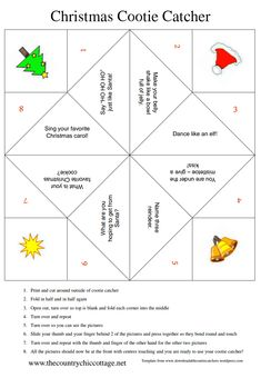 Christmas Cootie Catcher ~ * THE COUNTRY CHIC COTTAGE (DIY, Home Decor, Crafts, Farmhouse) Grab this free printable Christmas cootie catcher for your little ones this holiday season! The kids will love playing with this fortune teller! Christmas Jokes, Christmas Activities, Christmas Crafts For Kids, Diy Christmas Gifts, Christmas Projects, All Things Christmas, Holiday Crafts, Holiday Fun, Christmas Holidays
