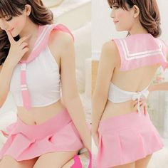 Womens Tops+dress 2Pcs Set Lingerie Dress Babydoll High School Student Cosplay Free Shipping