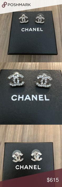 Auth Chanel Earrings Square Cc Pierced A15 Authentic Retails 525 Made In France Color Is Tangy Gold Comes With Velvet Dust Bag