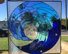 Awesome Cresting Ocean Wave  Stained Glass Window