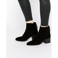 ASOS RECKON Suede Ankle Boots (€32) ❤ liked on Polyvore featuring shoes, boots, ankle booties, black, pointed toe ankle boots, suede booties, suede ankle boots, black bootie and black suede booties