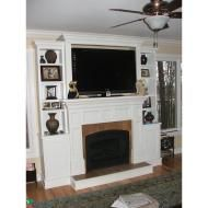 Similar to my view for the tv area... Electric fireplace with mantle and tv above with bookshelves/cabinets surrounding