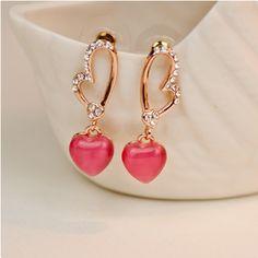 Fashion Crystal Heart Alloy 18K Rose Gold Plated Women's Drop Earrings