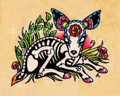 Day of the Dead Bunny RABBIT Dia de los Muertos by illustratedink