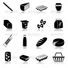 Food icons set of bread milk bottle egg box flour pack isolated vector illustration. Editable EPS and Render in JPG format