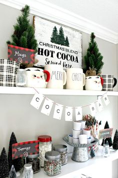Farmhouse Christmas Home Tour, holiday coffee and hot cocoa bar Country Christmas Decorations, Farmhouse Christmas Decor, Christmas Kitchen, Rustic Christmas, Winter Christmas, Christmas Home, Vintage Christmas, Christmas Crafts, Xmas