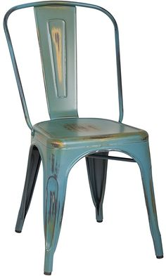 2016 NEW ARRIVAL! Adeco Metal Stackable Industrial Chic Dining Bistro Cafe Side Chairs, Distressed Color, Set of 2... Best Price