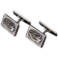 For Sale on - Pair of Sterling Silver Georg Jensen Cufflinks, Denmark, post designed by Henry Pilstrup. The cufflinks, lotus design, of rectangular shaped Sterling Silver Cufflinks, Sterling Silver Rings, Watch Cufflinks, Lotus Design, Vintage Cufflinks, Ring Crafts, Art Deco Fashion, Accessories, Jewelry