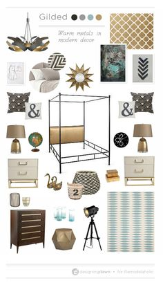 Remodelaholic | A Gilded Mood Board - Using Warm Metals in Modern Decor