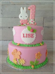 Nijntje taart Miffy cake  Miffy/Nijntje is a cookie