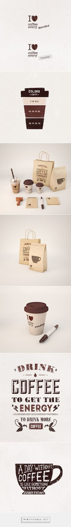 I Love coffee every day on Behance by Andrey Zhulidin curated by Packaging Diva PD. Simple yet compelling coffee packaging.