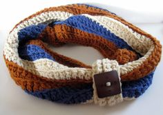 Chunky Warm Cowl with Big Button, Colonial Blue, Rust, and Beige by NanasGoneWild on #Etsy $26