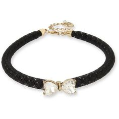 Betsey Johnson Black Gold-Tone Stone Bow  Pearl Black Mesh Choker... ($42) ❤ liked on Polyvore featuring jewelry, necklaces, black, pearl jewellery, pearl necklace, bow choker necklace, betsey johnson jewelry and pearl bow necklace