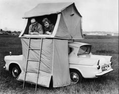 Apparently car-top tents were all the rage in the 50s (Car Top Tent from Starling Travel) I think modern motorhomes are far more spacious! Ok I want both! pretty amazing!