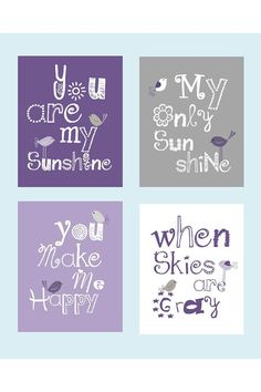 You are my sunshine coordinates with Pottery Barn Quinn bedding, 4-8x10 prints , nursery art prints $55