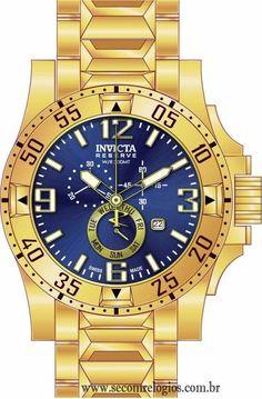 b46c84bb375 Relógio dourado masculino cronógrafo INVICTA 15329 Coleção Reserve  EXCURSION   Linha de relógio de luxo masculino. Relógios ...