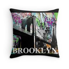 Brooklyn graffiti pillow