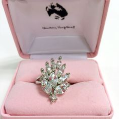 """Audrey Hepburn Collection """"Peacock"""" Clear Crystal Silvertone Ring - Bright stones bring this motif to charming life. Just the thing for occasions that require you show up . . . and stand out."""