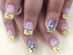 Yellow tips with black flower by Pinky - Nail Art Gallery…