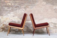Rare paire fauteuils pliables scandinave tissus rouge bordeau, circa 1960 http://www.gentlemen-designers.fr/produits
