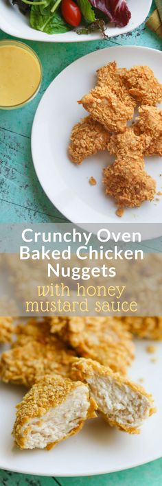 Crunchy Oven Baked Chicken Nuggets with Honey Mustard Sauce are easy to make for lunch or dinner. No fast food lane needed!