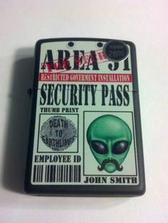 #28437 Area 51 Alien Security Pass Black Matte Sealed Windproof Zippo Lighter