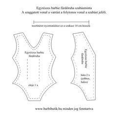 Egyrészes barbie fürdőruha szabásminta/ Barbie swimsuit pattern