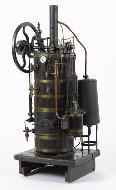 Lot: Large Radiguet vertical overtype steam engine, 19th c.,, Lot Number: 0042, Starting Bid: $2,400, Auctioneer: Pook & Pook with Noel Barrett, Auction: Iron & Steam Toys: Day 1, Date: March 31st, 2017 CEST
