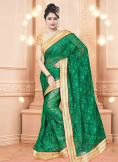 This green net designer saree is including the appealing glamorous showing the feel of cute and graceful. The ethnic embroidered and patch border work at the apparel adds a sign of splendor statement ...