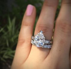 Floral Solitaire White Gold Moissanite Engagement Ring for Women / Unique Engagement Ring / Gold Moissanite Ring / Flower Ring - Fine Jewelry Ideas Pear Shaped Engagement Rings, Engagement Ring Shapes, Designer Engagement Rings, Diamond Engagement Rings, Wedding Engagement, Wedding Band, Ring Set, Ring Verlobung, Pear Ring