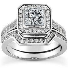Pave Set Princess Cut Halo Petite Diamond Wedding Engagement Rings Pretty How The Fits Into Ring