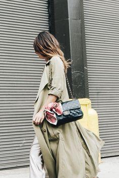 Khaki Trench: Zara, Bag: Chanel Vintage Sandals: Isabel Marant