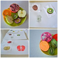 Montessori Toddler Art Extention: Using Vocabulary/matching cards and real fruit. Once the cards are matched the child has the choice to extend the work by matching the real cut fruit in a paint stamp to the card.