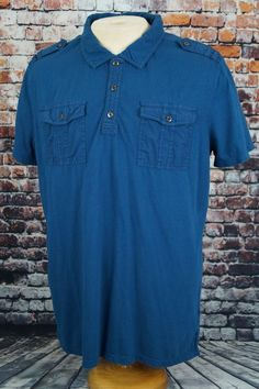 Rock & Republic Men's Military Rugby Polo Shirt Cotton Short Sleeve Blue Sz. XL #RockRepublic #PoloRugby