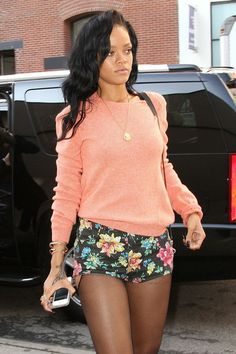 Rihanna in floral shorts