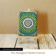 Tiny Painted Canvas, Dot Painting, Forest Art, Aboriginal Art, dolls house painting, acrylic paint on canvas board, green decor, 6cm x 8cm on Etsy, $18.68