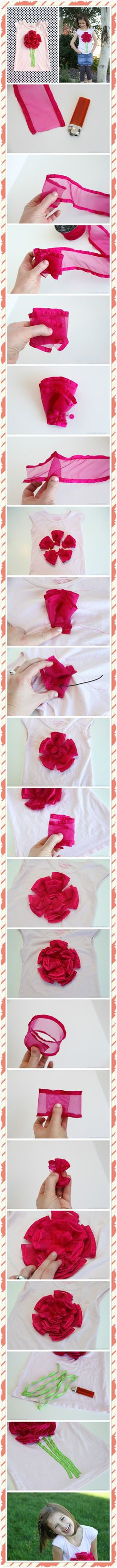 DIY puffy ribbon flower shirt diy crafts home made easy crafts craft idea crafts ideas diy ideas diy crafts diy idea do it yourself diy projects diy craft