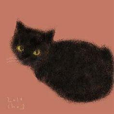 Shozo Ozaki. This little black kitten looks just like my Stormageddon when we first adopted him.(prev pinner)♥•♥•♥