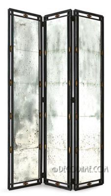 elegant mirrored & wrought iron decorative room divider screen