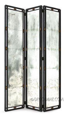 elegant mirrored & wrought iron decorative room divider screen