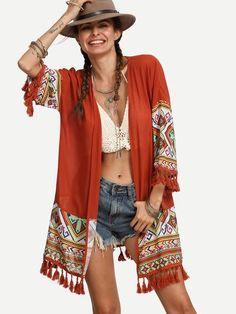 boho kimono, open front tribal print tassel kimono, boho fashion - Crystalline