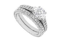 1 Carat Diamond Engagement Ring with Wedding Band Set in 14K White Gold