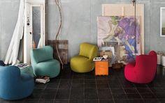 """Machen sich gut in kleinen Räumen. Farbige Sessel """"Freistil 173"""" von Rolf Benz"""