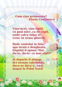 Cum vine primavara? de Florin Costinescu Nursery Rhymes, Kids And Parenting, Calendar, Language, Songs, Children, Kids, Boys, Languages
