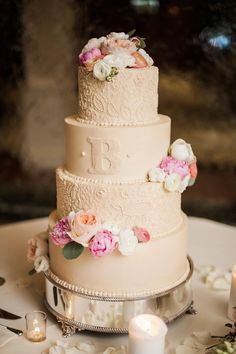 Wedding cake, peonies, monogram, ivory buttercream, paisley print, preppy // Sweet Julep Photography