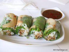 Summer Rolls with Peanut Sauce, 100% vegan restaurant Loving Hut (1614 S. King St. @ Punahou, Honolulu, HI) #vegan