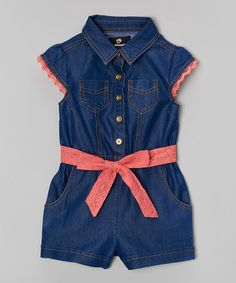 Look at this Dark Wash Denim Romper - Infant, Toddler & Girls on #zulily today!